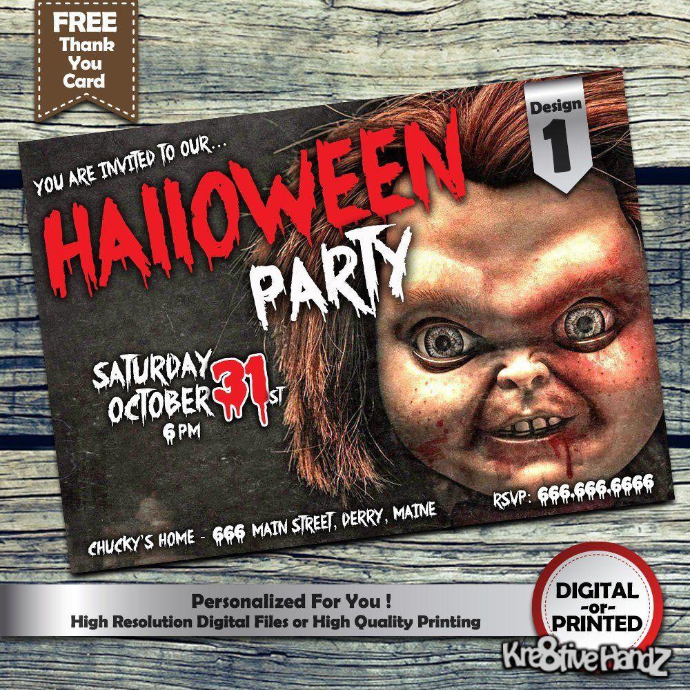 Halloween Invitation Custom Printable Chucky Halloween Party Invitation Personalized P Halloween Invitations Halloween Party Invitations Free Thank You Cards