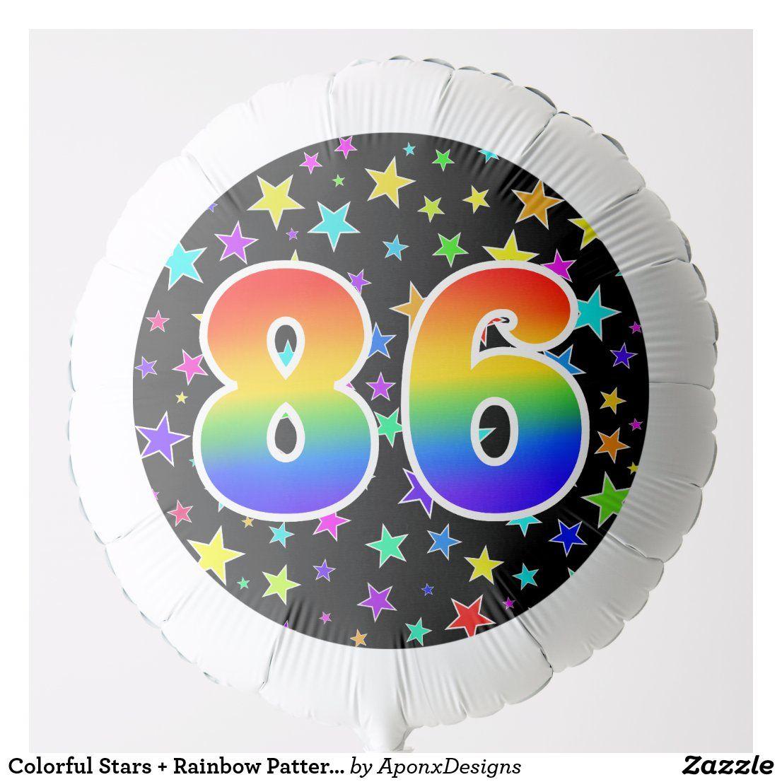 "Colorful Stars + Rainbow Pattern ""86"" Event Balloon"