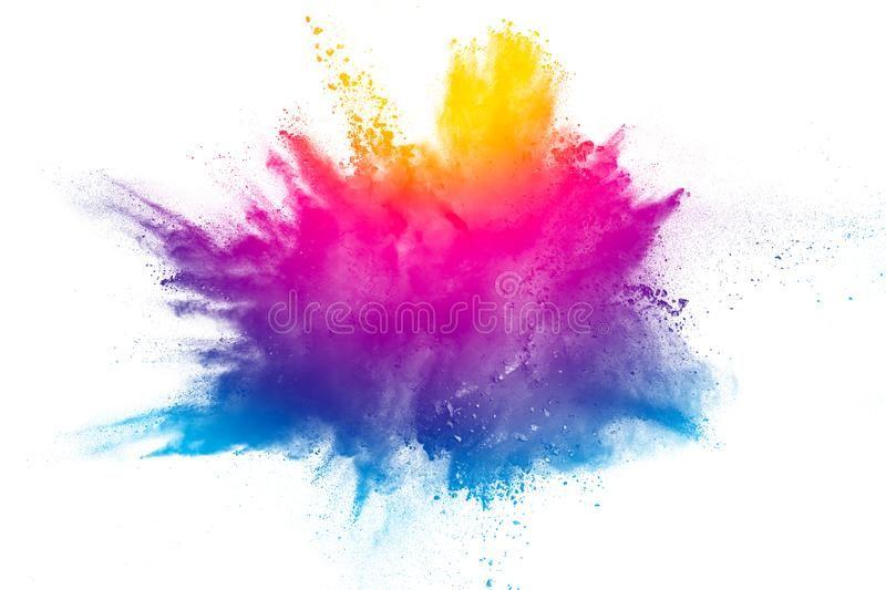 Explosion Of Rainbow Color Powder On White Background Color Dust Splash Affiliate Color Powder Explos Color Powder Paint Splash Background Color Dust