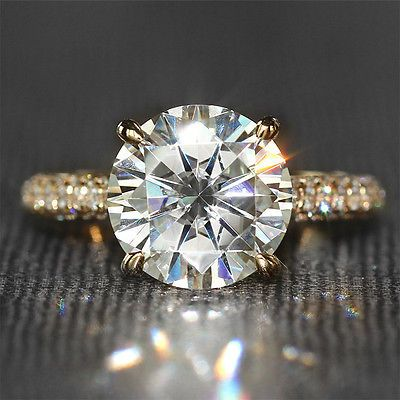 4 Carat ct F Color Moissanite Ring With Real Diamond Accents Real Yellow  Gold