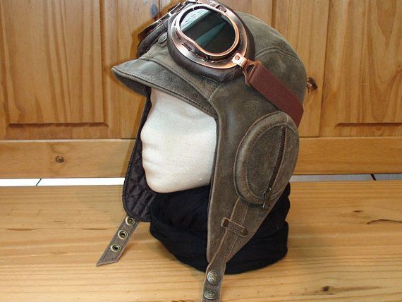 Men Women Aviator Pilot Hat Cap Helmet Real leather antique brown color cb37b9a9d300