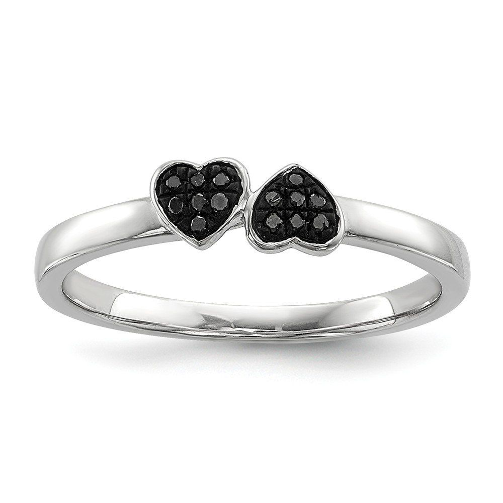 Sterling Silver Black Diamond Stackable Ring. Crafted in Genuine Silver. Distinctive Design. Makes a wonderful gift. Free gift box with every purchase. No hassle 30 day money back guarantee.