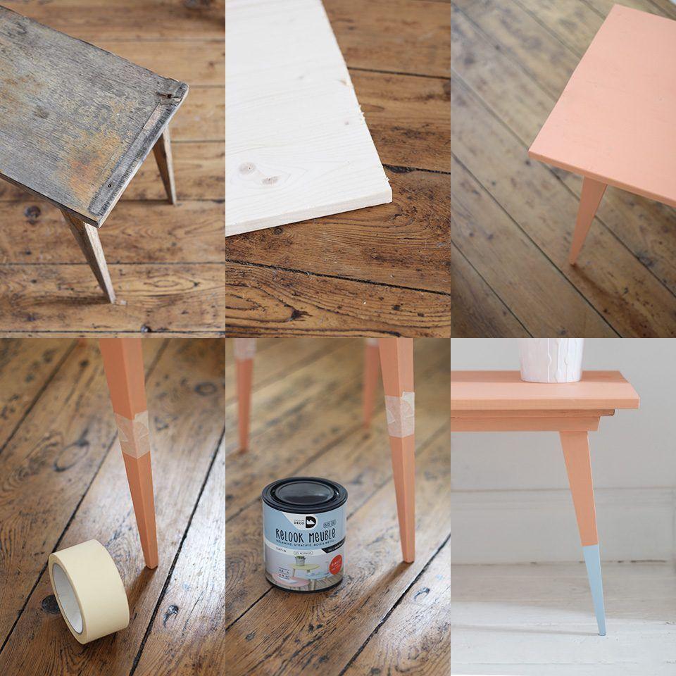une table basse vintage color e diy diy d co pinterest table basse mobilier de salon et diy. Black Bedroom Furniture Sets. Home Design Ideas