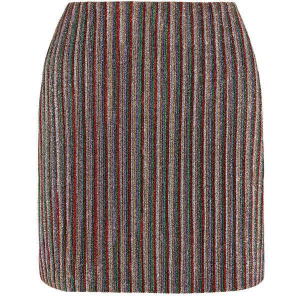 db20d7a656 Emilia Wickstead Striped metallic ribbed-knit mini skirt ($600) ❤ liked on  Polyvore