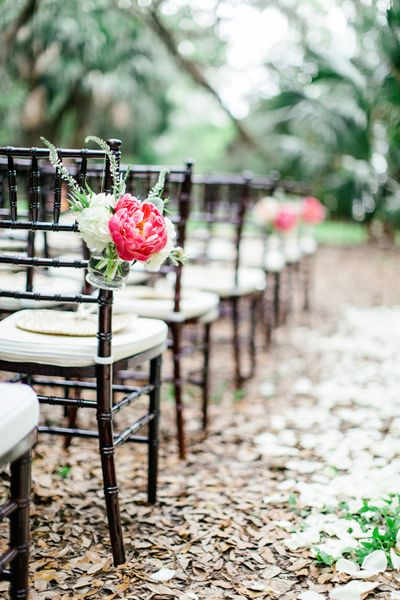 Love those brown chiavari chairs- ceremony aisle decor