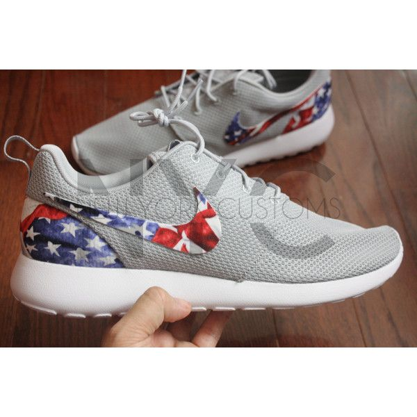 Nike Roshe Run American Flag ($130) ❤ liked on Polyvore featuring shoes, red