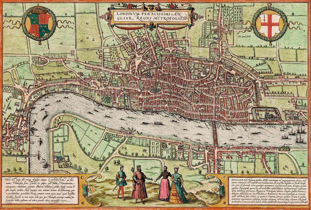 Old antique Elizabethan FIRST MAP OF LONDON by Braun /& Hogenberg 1572 art poster