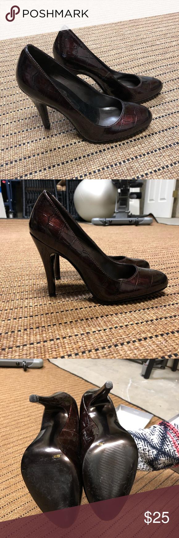 05de0168ceff Worn Once Jessica Simpson Brenda2 Croc Pumps 6 Like New. Deep Burgundy  patent leather pump