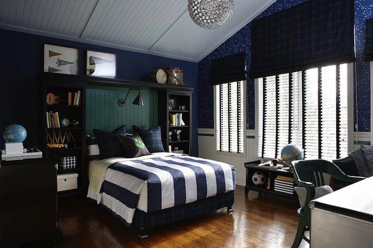 Sarah Richardson Design   Boyu0027s Rooms   Navy Walls, Navy Wall Color, Plaid  Window