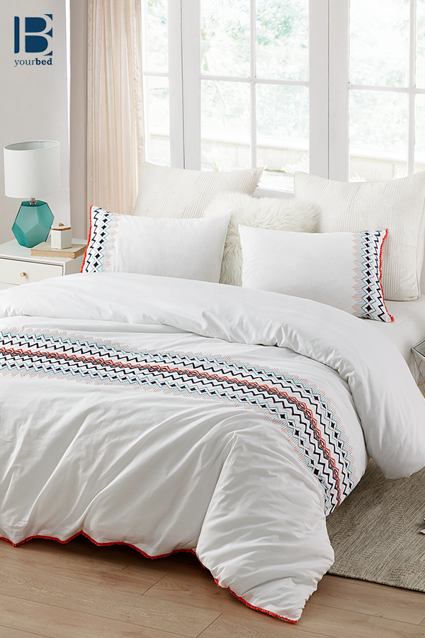 Stylish White With Colorful Embroidered Details And Super Soft Cotton Extra Large King Duvet Cover Embroidered Duvet Cover Duvet Covers King Duvet Cover