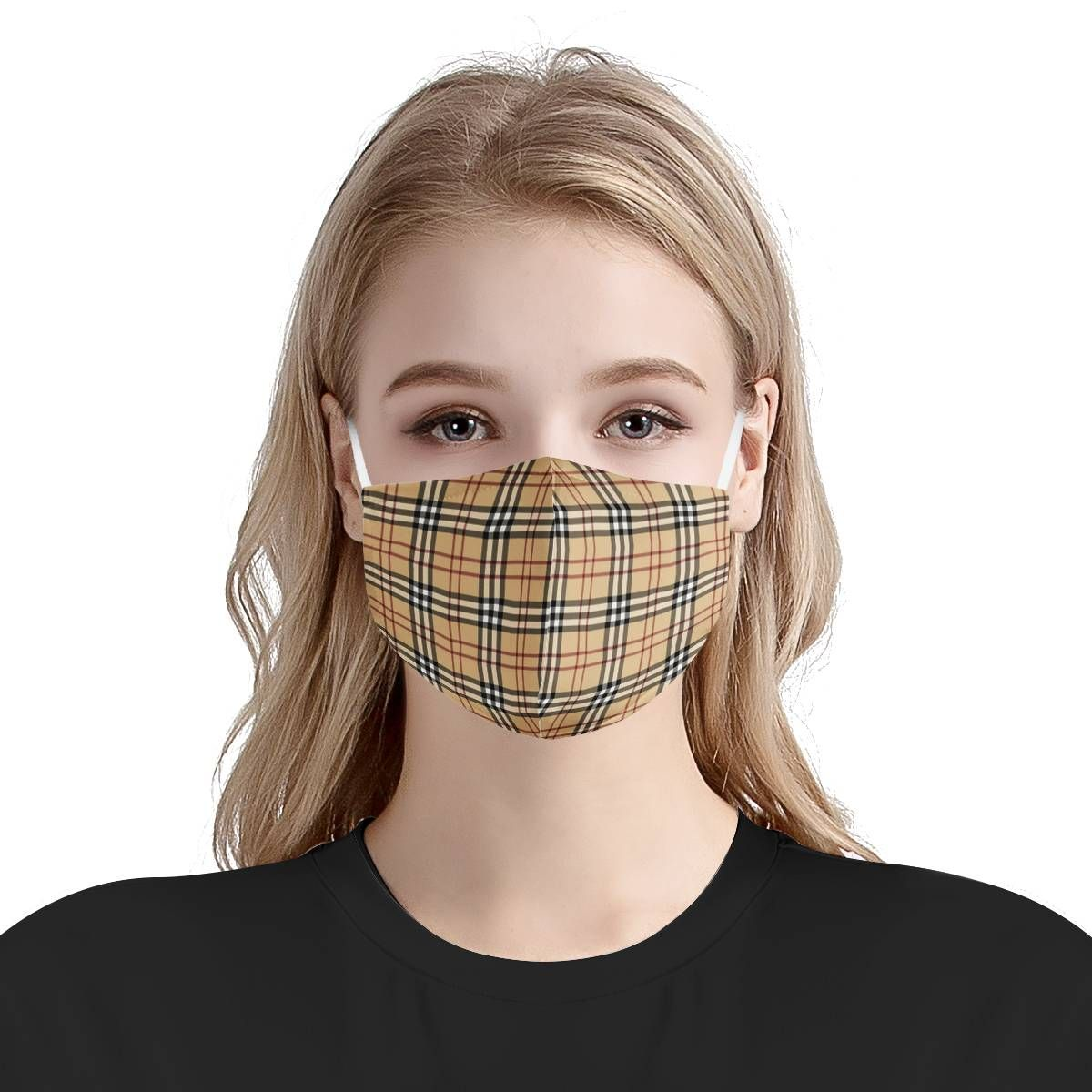Plaid Texture Face Mask + Filters PM2.5 in
