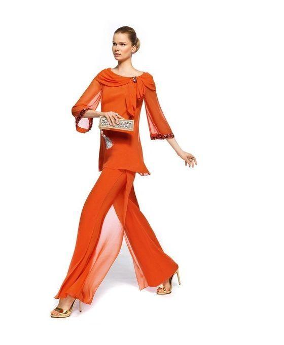 Ensemble blouse et pantalon en chiffon tenue de soirée online chiffon fluide blouse manches 3/4 col rond detail en strass sur miamastore