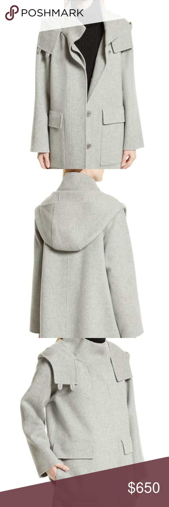 d832839f3ccb Theory Duffle Coat Exude elegance in this hooded wool-blend coat that is  kissed with