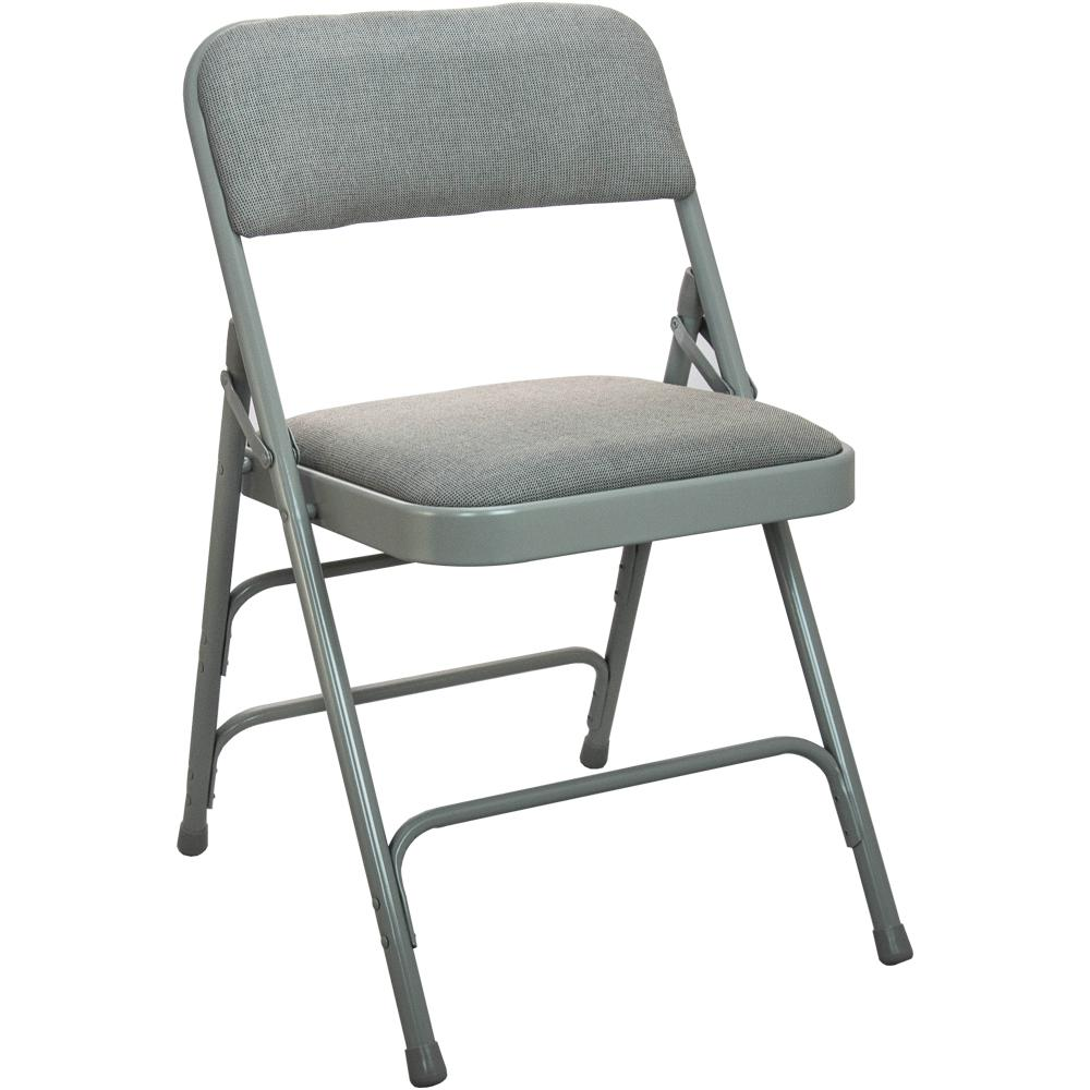 Advantage 1 In Grey Fabric Seat Padded Metal Folding Chair Grey