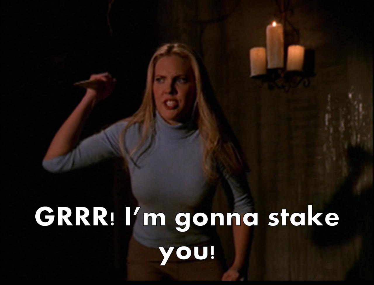 Harmony (pretending to be Buffy) | Buffy style, Vampire slayer, Buffy the vampire slayer