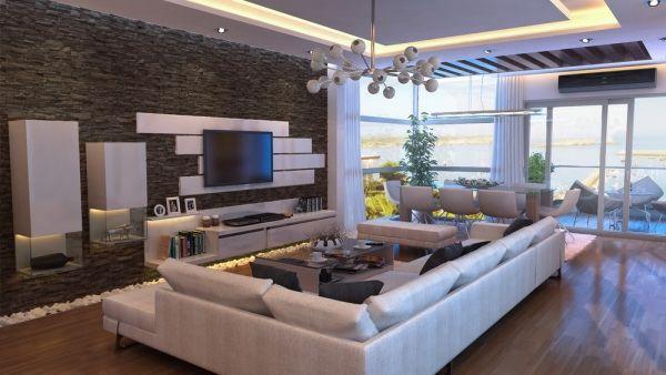 steinwand wohnzimmer naturstein holzboden einbauleuchten For the - wohnzimmer design steinwand