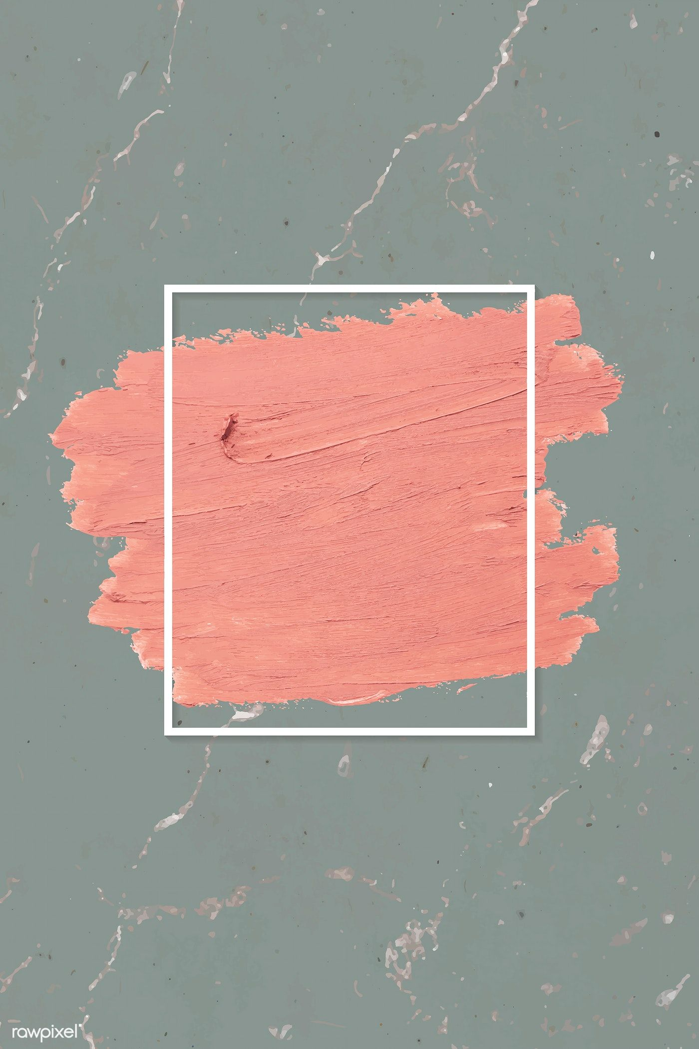 Download premium vector of Matte orange paint with a white rectangle frame on a grayish green marble background vector by Tang about pink strokes, make up background, matte background, frame brush free, and makeup 592327