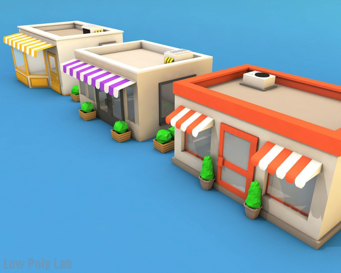 Low Poly City Buildings Package Download 3D model in 2019 | Low poly