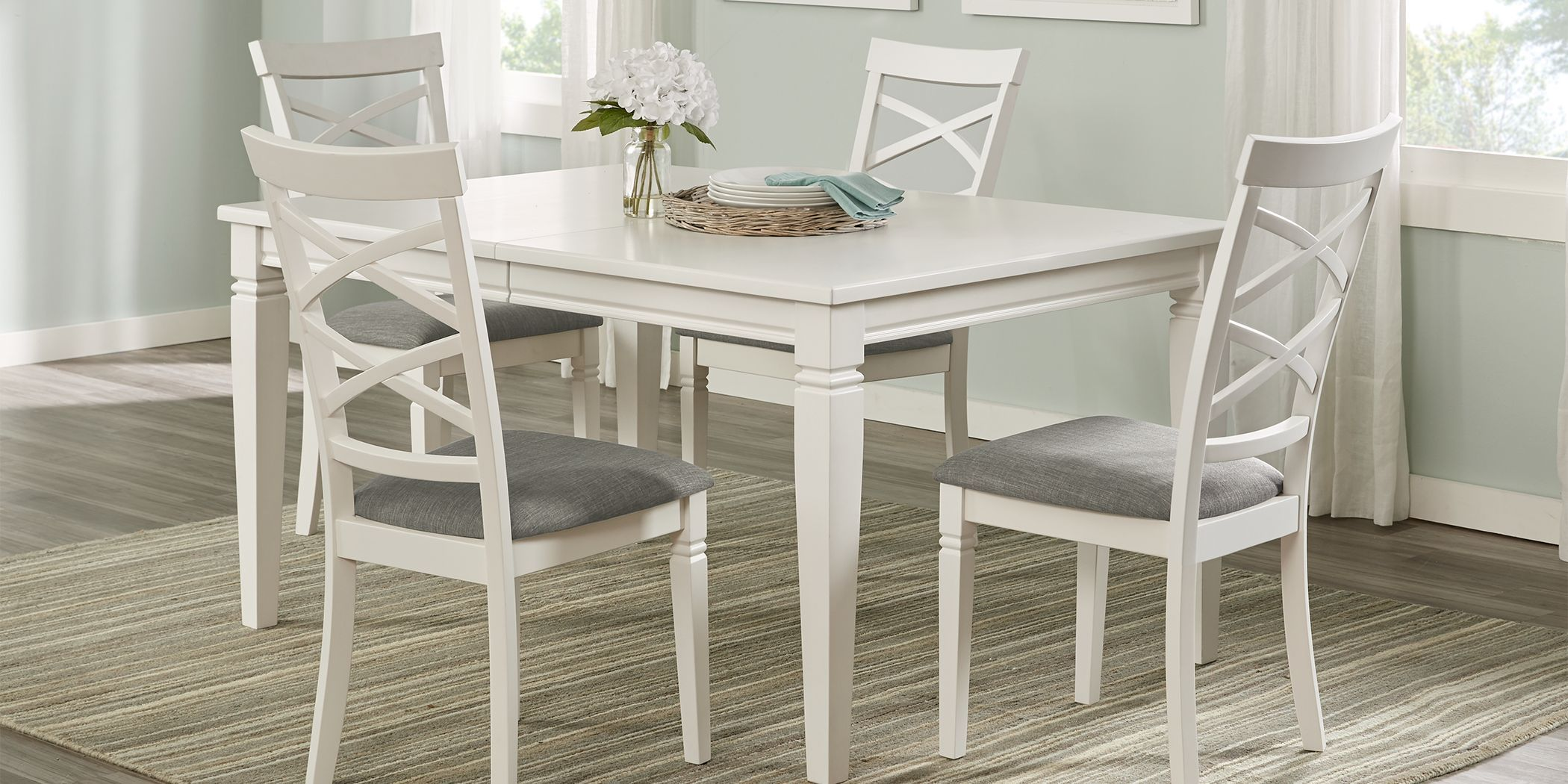 Riverdale White 5 Pc Rectangle Dining Room With X Back Chairs