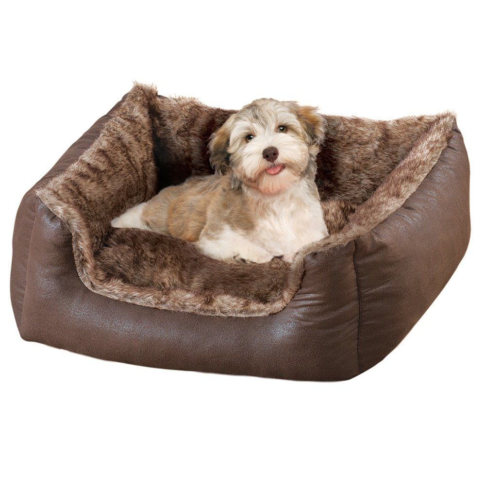 Collections Etc Faux Leather And Faux Fur Pet Bed Dog Bed Medium