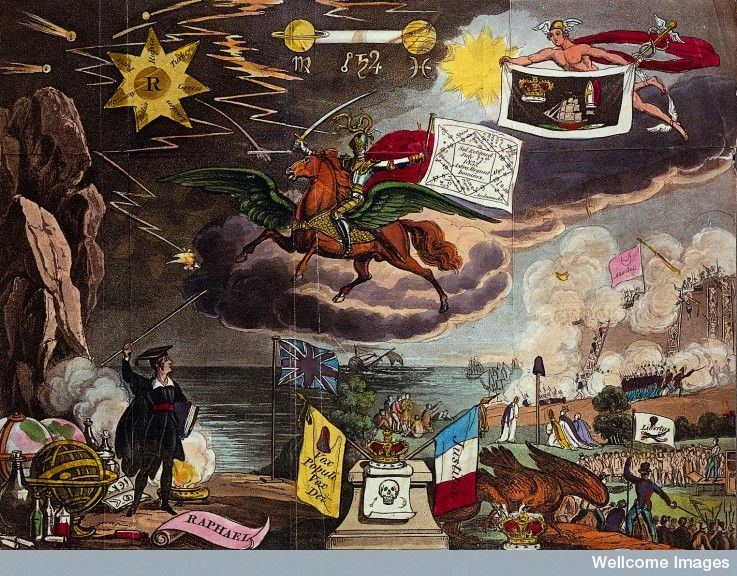 Predictions for 1832. Astronomy: various apocalyptic scenes, including war, and shipwreck. Coloured lithograph, [c.1832?]. Prophetic almanac. 1832 edition.
