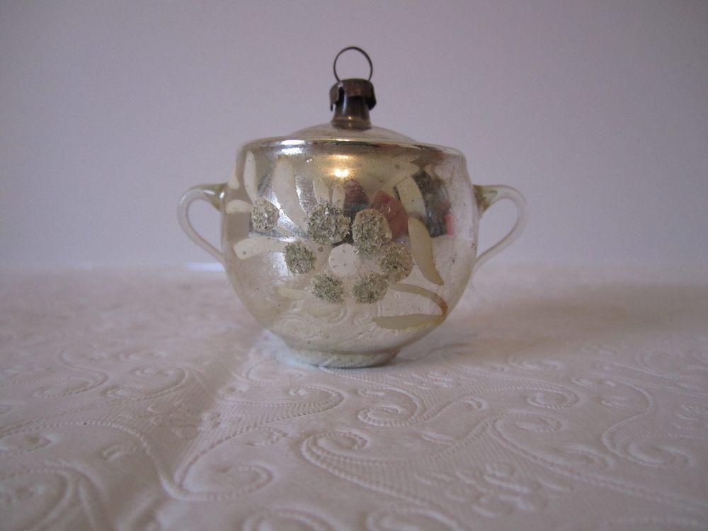 Vintage Mercury Glass Teapot Ornament Silver Christmas Sugar Bowl German Teapot Ornament Silver Christmas Glass Teapot
