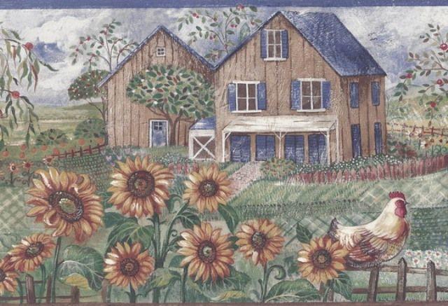 Lovely Blue Frontyard Sunflower Roosters Wallpaper Border   Country Folk