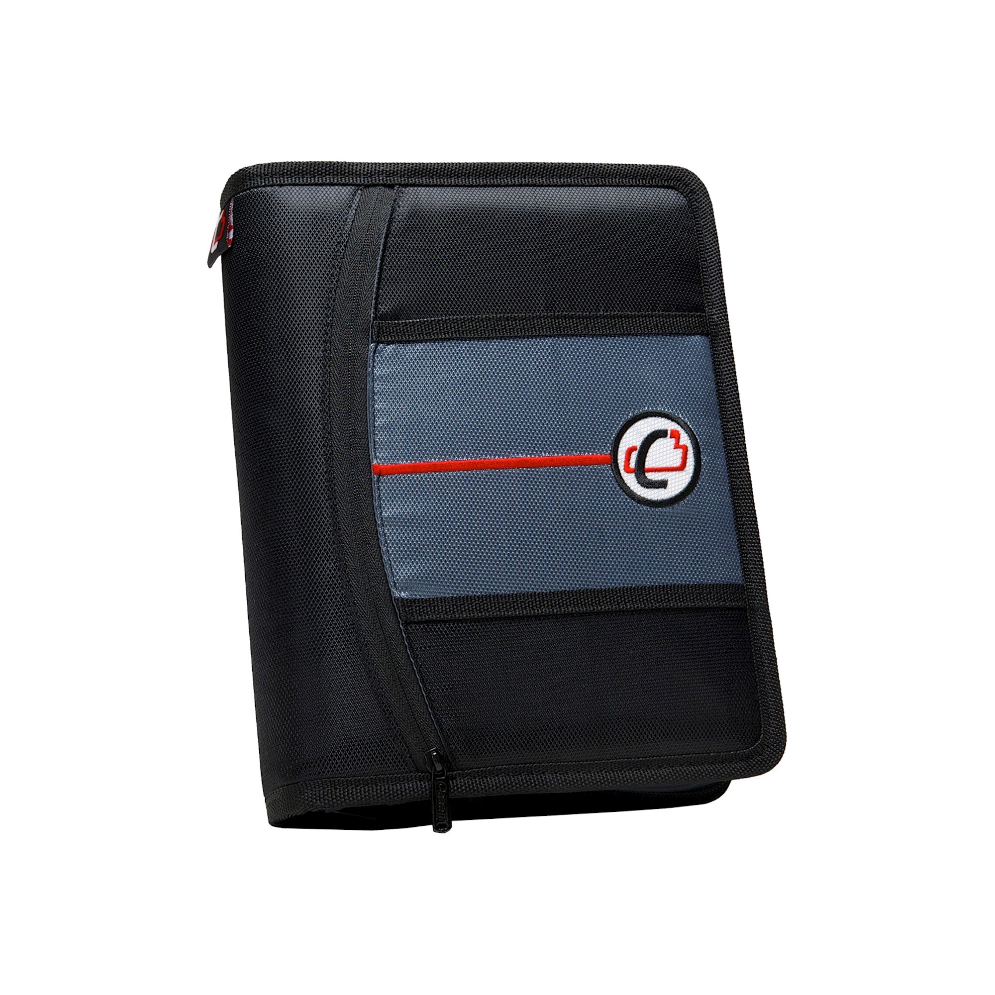 """Case•it 1"""" 3 Ring Binder With Zipper Cover 9 Pockets Black"""