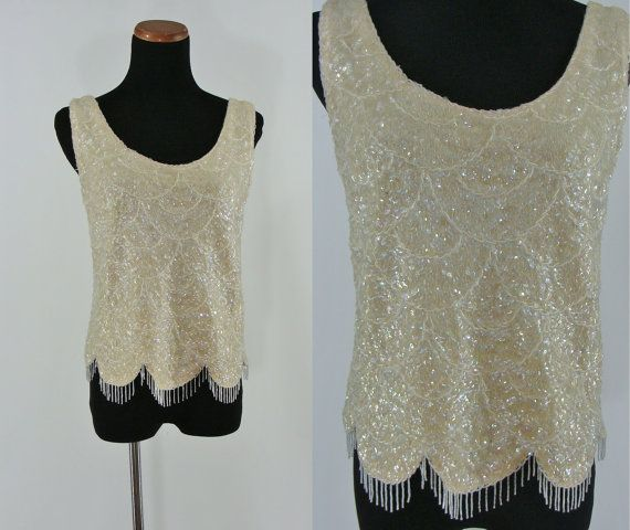 8435633e2e5ac Vintage Sixties Beaded Wool Sweater - 1960s Evening Top - 60s Sleeveless  Sequined Sweater - White Beaded Top