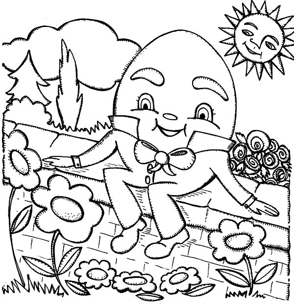 Humpty Dumpty At Flower Garden Coloring Pages : Coloring