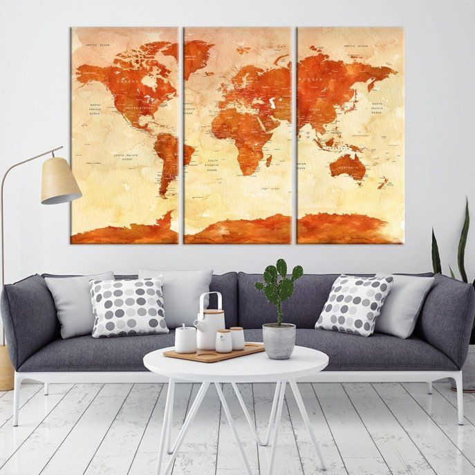 10040 - Large Wall Art World Map Canvas Print- Custom World Map Push ...