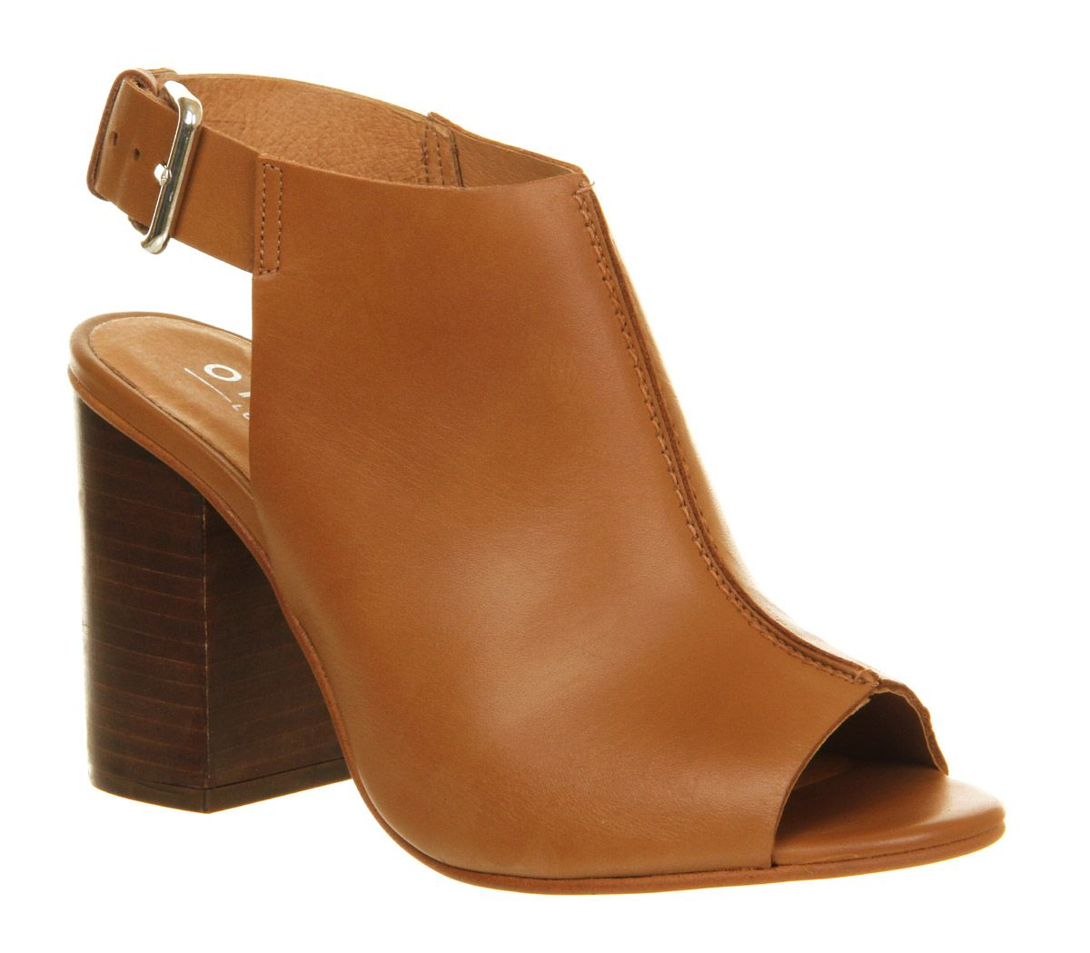 Office Garnet Cuff Block Heel Tan Leather - Mid Heels