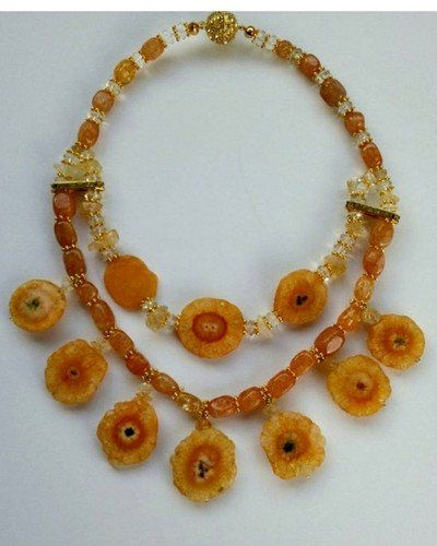 Citrine and Solar Quartz Multi Strand Statement Necklace