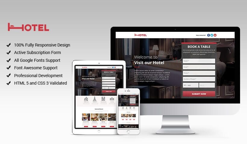 Hotel And Restaurant Responsive Landing Page Boost Conversion Rate