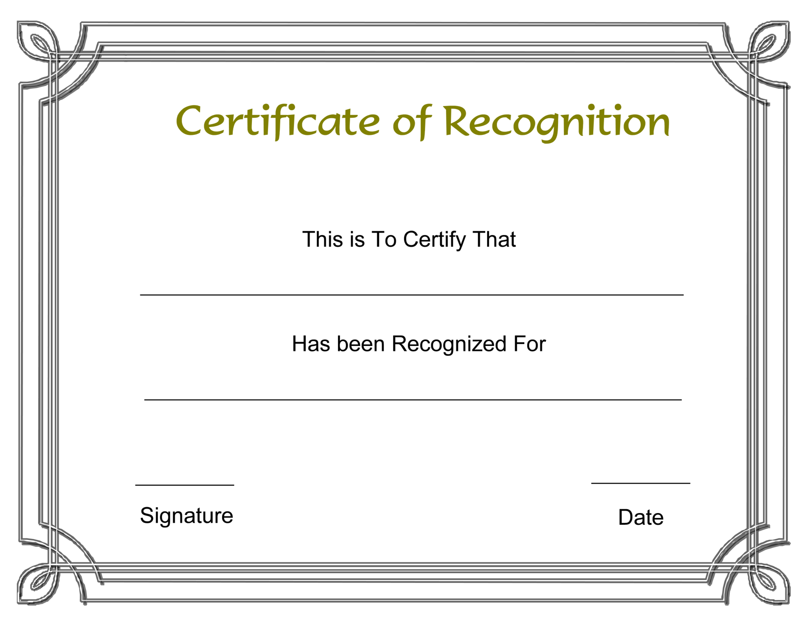 template certificate of recognition