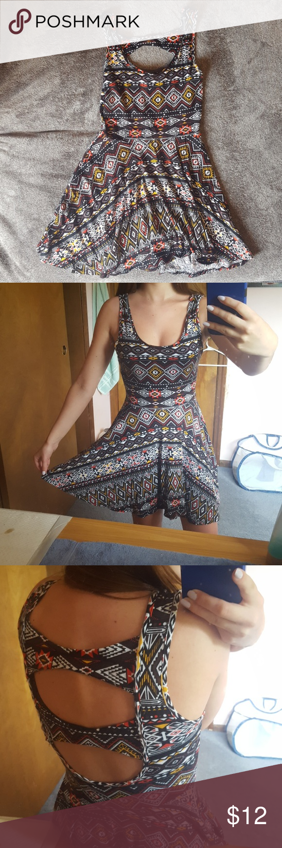 Patterned Short Dress Size medium, but fits a small. Worn a few time but in great condition. Dresses