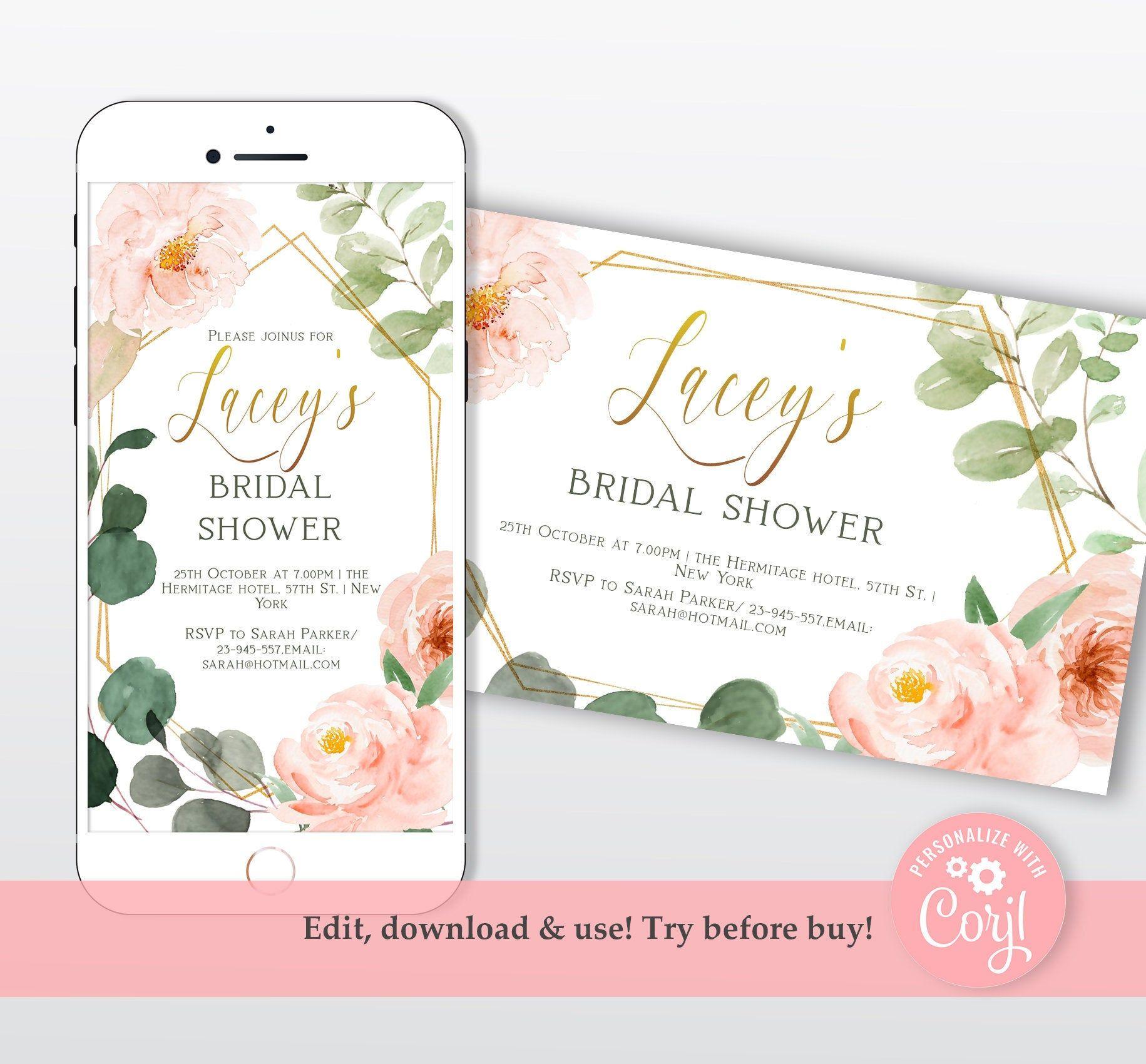 Blush and Gold Bridal Shower Facebook Event Cover Banner Invitation Editable Bridal Shower Social Media Event Photo Digital Invitation Evite