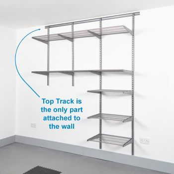 Track Wall Shelving Silver Stainless Rack Shelf Top Track Wall