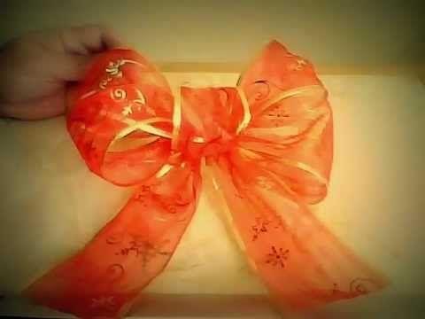 Mo os navide os con flores en cintas de organza youtube - Cinta arbol navidad ...