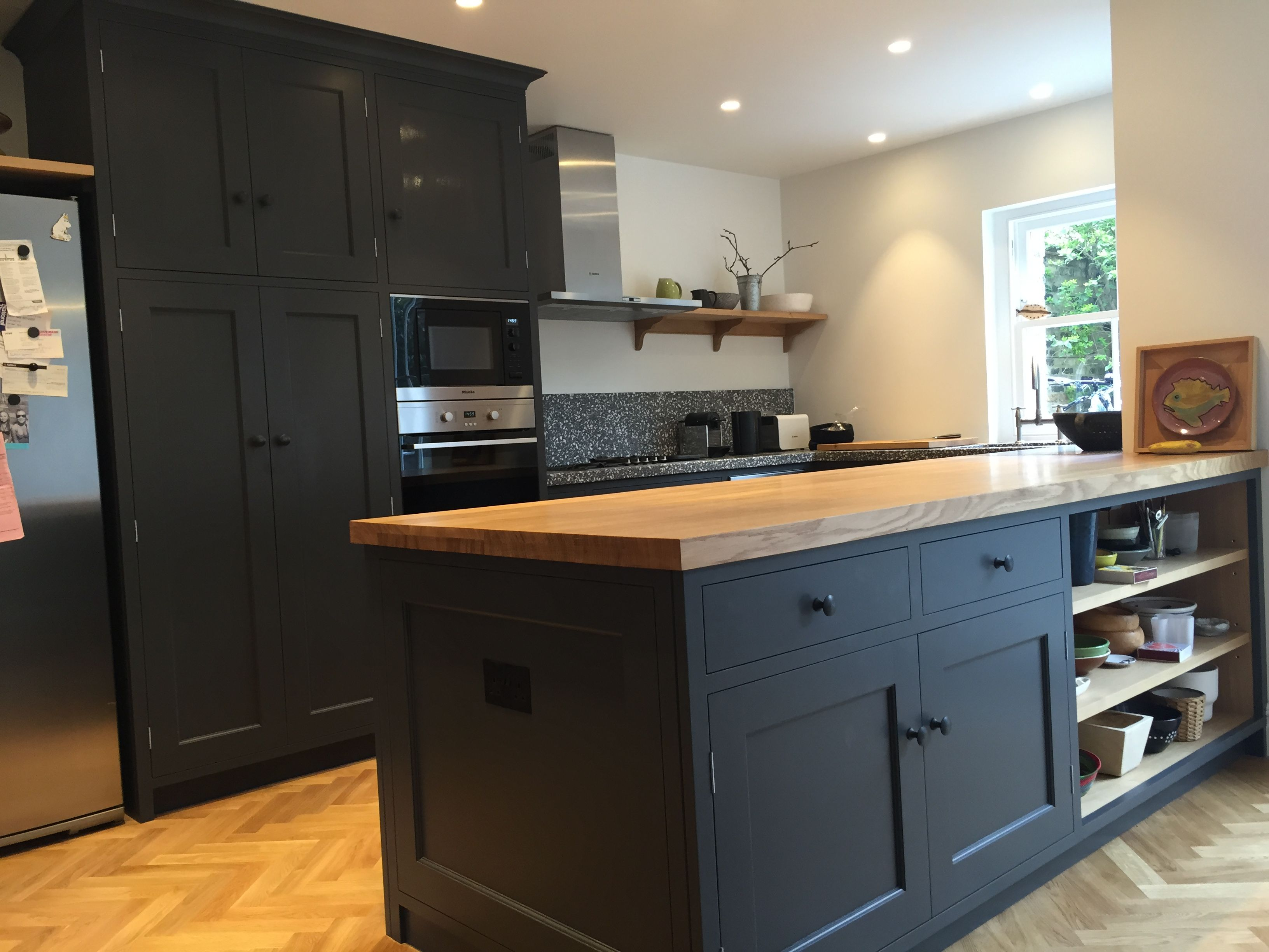 Picture of dark grey kitchen with solid wood worktops for Dark wood cabinets small kitchen