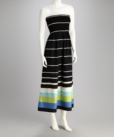 9c39ce31fc63 Take a look at this Black & White Strapless Maxi Dress by Nolita on #zulily  today!