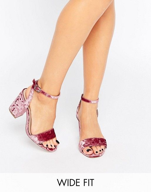 d1e36b25c76 HERON Wide Fit Velvet Heeled Sandals
