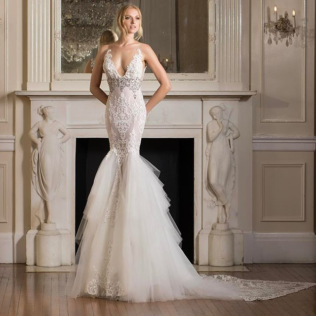 Pina Wedding Gown: This Lace Gown With Textured Skirt And Crystal