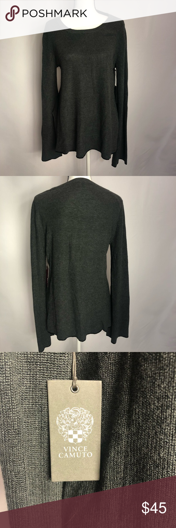 2d424ae4968 Tipped Bell Sleeve Sweater Vince Camuto SIZE INFO Runs large  order one size  down. Regular  XS 2-4