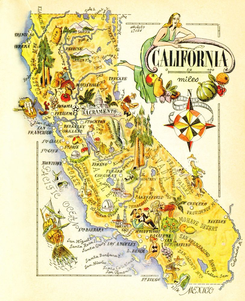 Vintage California map #piel #shoppiel #inspiration | Eureka ...