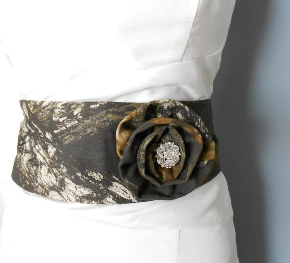 Camo Rosette Sash Flower Brooch Hair Clip Wedding Camouflage