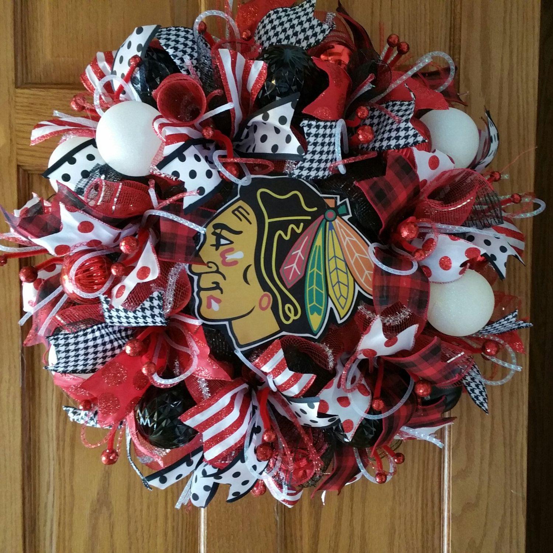 Deco mesh Blackhawks wreath Blackhawks wreath Hawks wreath