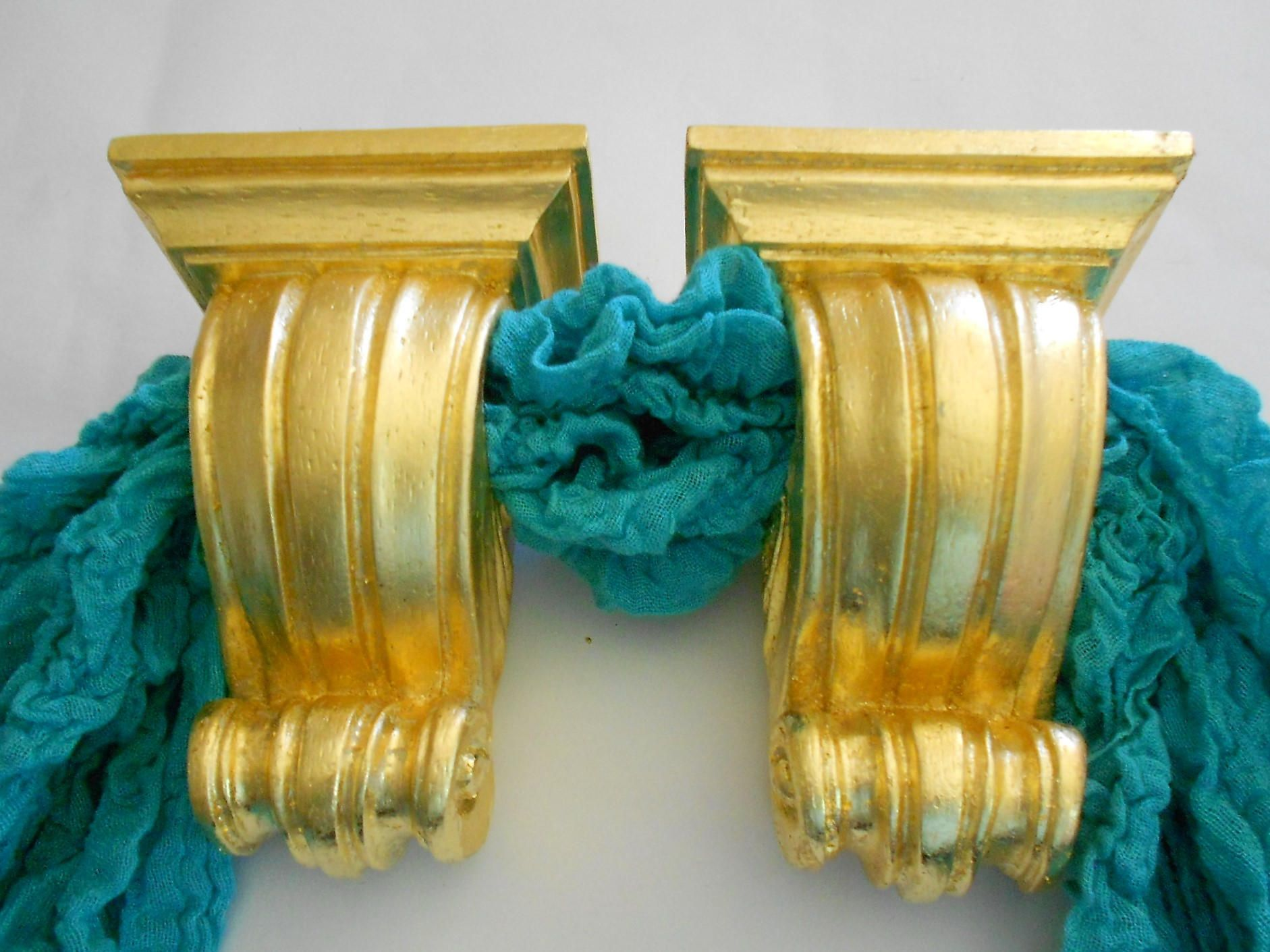 625 H Decorative Curtain Sconces Gold Leaf Holders Rod