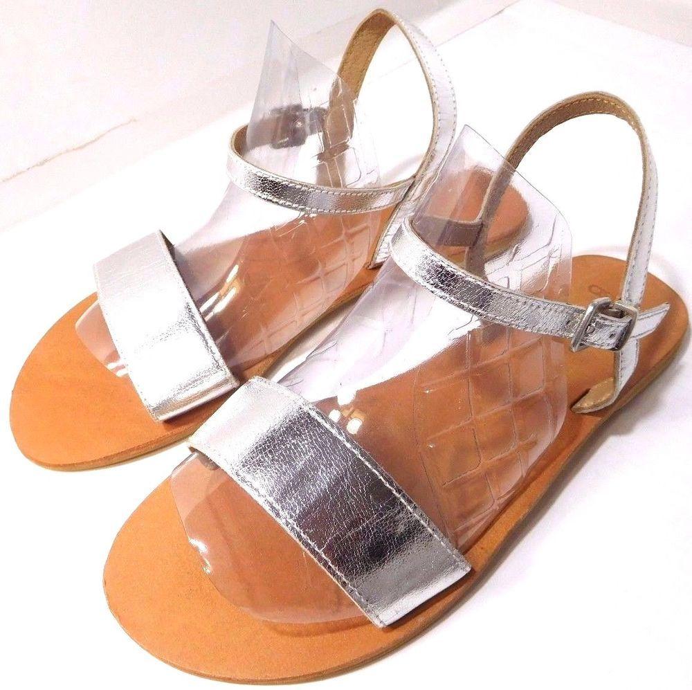 8b3b64d1d88 Women s Metallic Flight Wide Fit Leather Sandals US Size 8 Silver Flat NEW   Asos  Flat