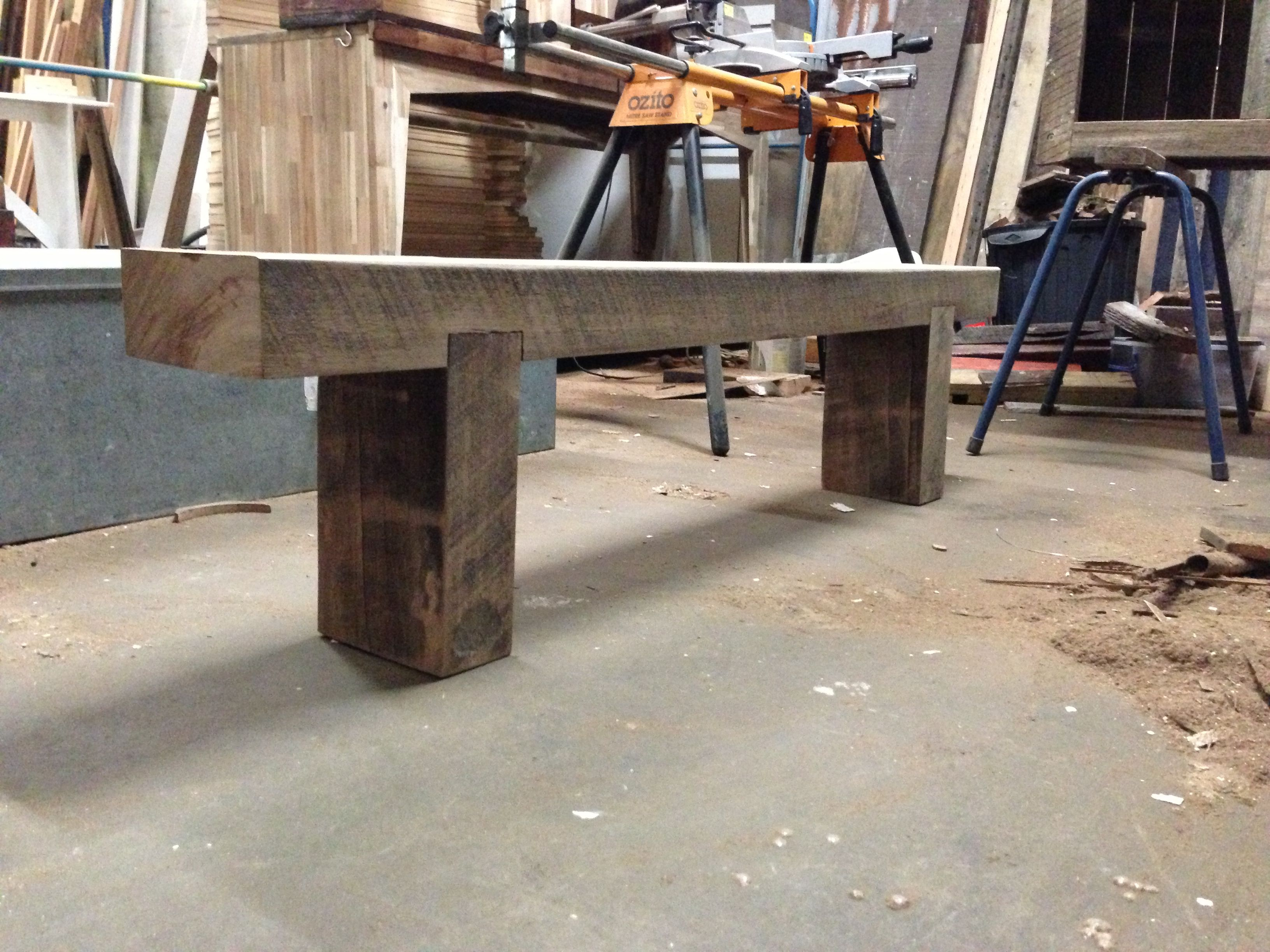Outdoor Timber Bench Built From Recycled Timber Railway